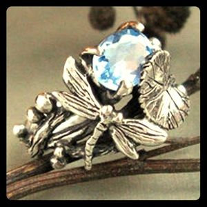 Jewelry - 925 Sterling Silver Dragonfly Aquamarine Ring